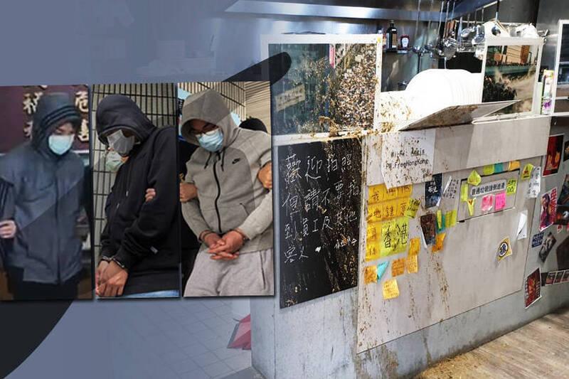 保護傘餐廳潑糞案,李姓兄弟(左二、左三)表示藏鏡人跟餐廳老闆有過節。另,左一為莫男。(本報合成)