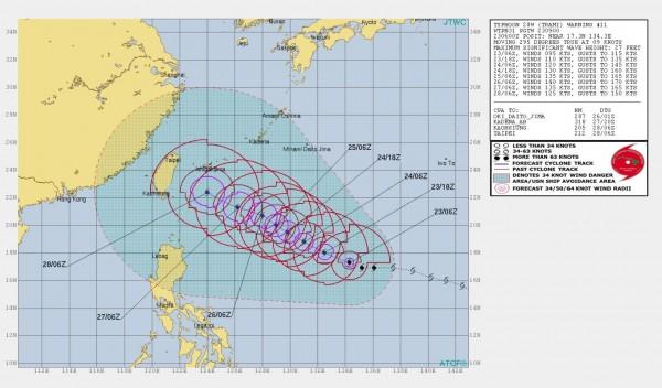 美軍在夏威夷的聯合颱風警報中心推估台灣本島全境28日有可能位於潭美颱風的7級陣風範圍內。(圖擷取自JTWC)
