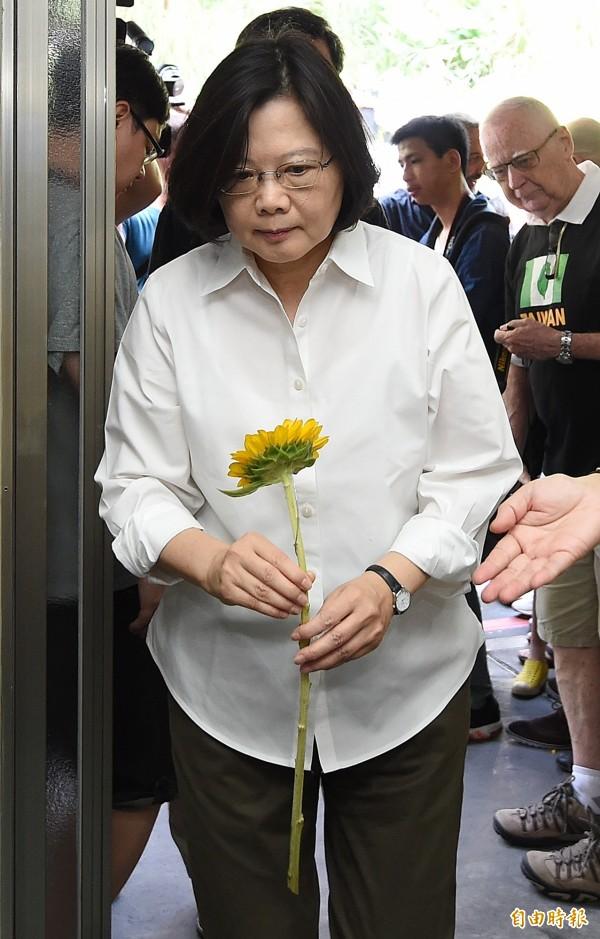 蔡英文手持著一朵太陽花,沒有太多的言語,神情透露著不捨與悲傷。(記者廖振輝攝)