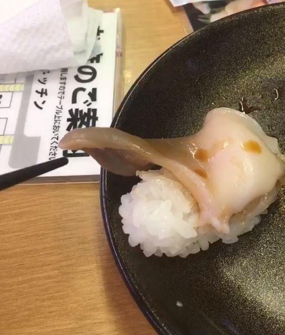 男網友點的北寄貝生魚片握壽司,上桌後不斷抖動,十分新鮮。(圖擷取自推特)