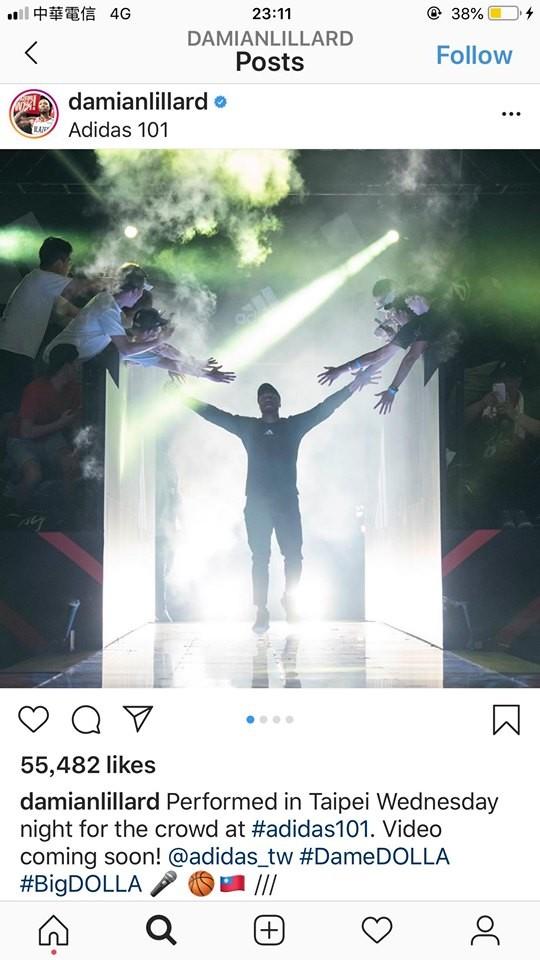 NBA波特蘭拓荒者29歲一哥里拉德(Damian Lillard)11日三度造訪台灣,12日他特別在IG貼文,並在文末附上台灣國旗,讓粉絲湧入大讚:「小李愛台灣啦!」(圖擷取自IG)