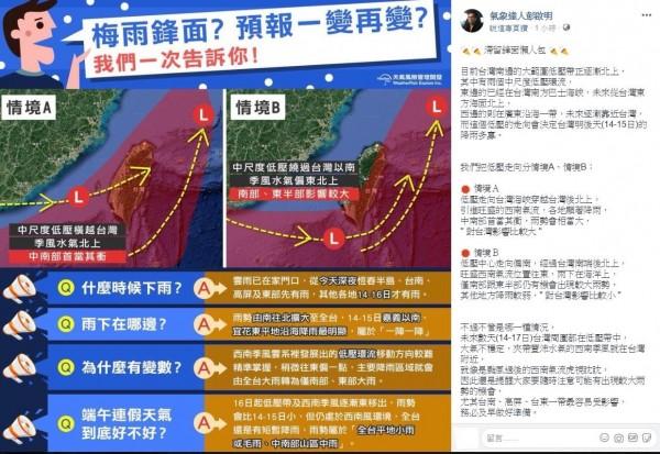 彭啟明強調,14日至17日台灣周圍都在低壓帶,夾帶豐沛水氣的西南季風就在附近,中南部還是要做好準備、提防大雨。(翻攝自臉書)