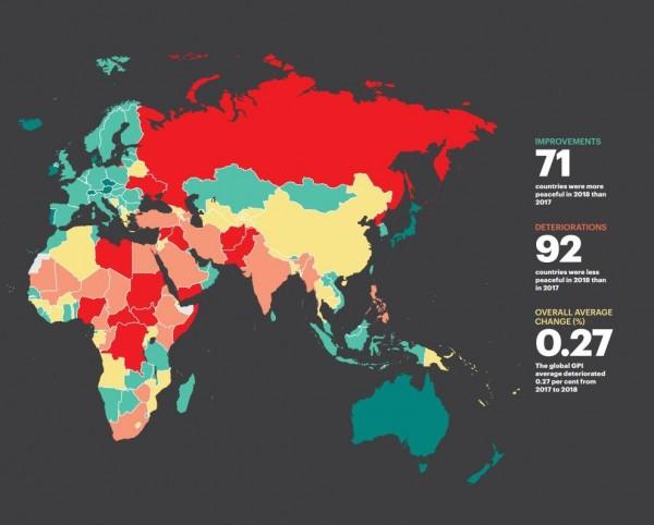 經濟與和平研究所(IEP)今(6)日在倫敦發表最新的「全球和平指數」(GPI)報告,台灣在163個國家中排名第34,亞洲名列第5。(圖擷取自GPI報告)