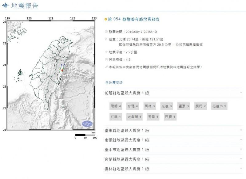 花蓮今晚10點52分發生發生有感地震,芮氏規模4.5,深度7.2公里。(圖擷取自中央氣象局)