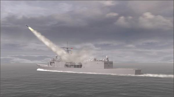 雄三飛彈發射模擬圖。(圖片截取自「國家中山科學研究院」)