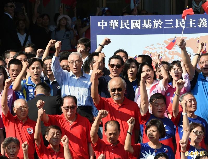 馬英九、吳敦義今下午都出席松濤社在國父紀念館舉辦的「愛國旗、愛國家」國慶大會。(記者廖振輝攝)