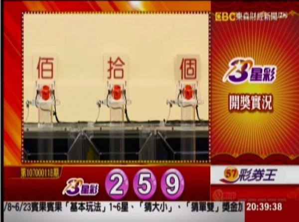 3星彩開獎獎號。(圖擷取自東森財經新聞)