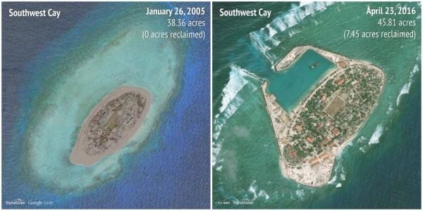 2005-2016南子礁(Southwest Cay)。(圖擷自商業內幕)