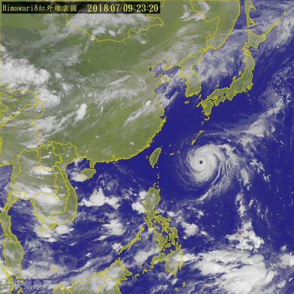 中央氣象局今晚11點半發布強颱瑪莉陸上颱風警報,警戒範圍包括新北、基隆、台北、宜蘭。(擷取自中央氣象局網站)