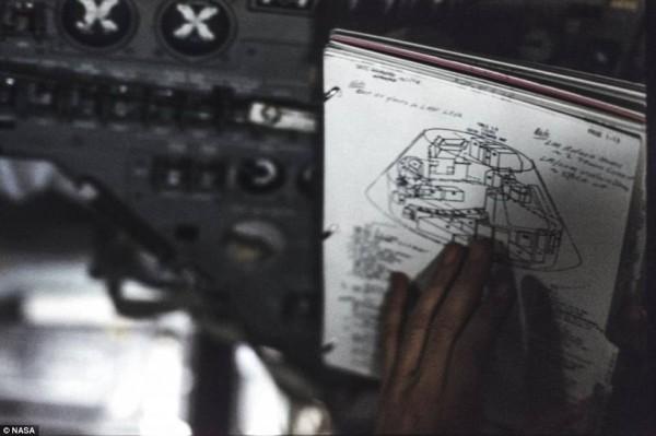 當時用鉛筆畫下的阿波羅計畫構思與飛行可能草圖。(圖擷自DailyMail)
