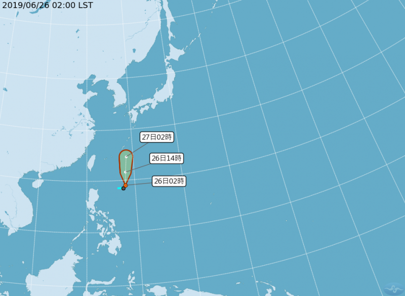 氣象局凌晨2時指出,目前太平洋地區有1個熱帶性低氣壓。(圖擷取自中央氣象局)