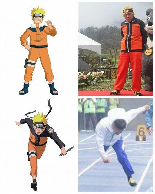 也有網友把柯文哲跌倒過程的相片,和漩渦鳴人的跑姿做比較。(圖擷自PTT)