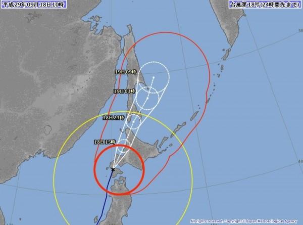 泰利颱風在當地時間今日早上10點左右,登陸北海道西部地區,已「四度登陸」日本。(圖擷取自日本氣象廳)