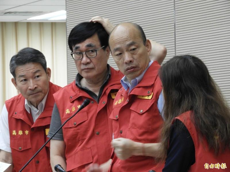 高雄市長韓國瑜主持颱風災害應變中心會議。(記者葛祐豪攝)