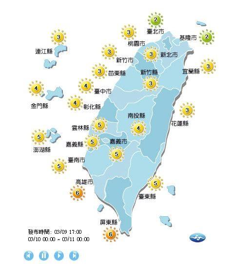 紫外線方面,明日除了台北市、基隆市為低量級;高雄市、屏東縣為高量級外,全台各地皆為中量級。(擷取自中央氣象局)