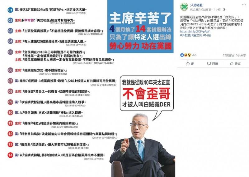 「只是堵藍」將凌濤整理的資訊製作成圖表。粉專狠酸「主席辛苦了,4個月換了14套初選辦法,只為了讓特定人選出線,勞心勞力,功在黨國」。(擷取自只是堵藍)