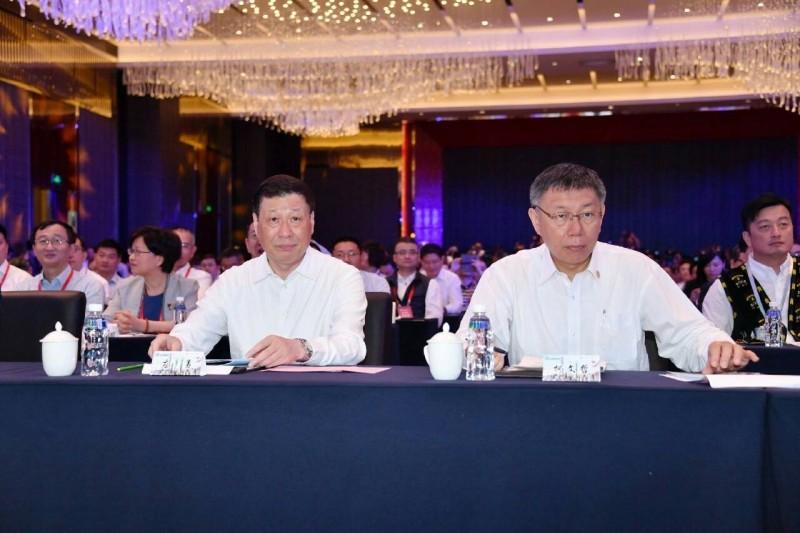 柯文哲宣布,今年雙城論壇以視訊方式舉辦。圖為柯文哲2019年7月4日參加台北上海雙城論壇。(台北市政府提供)
