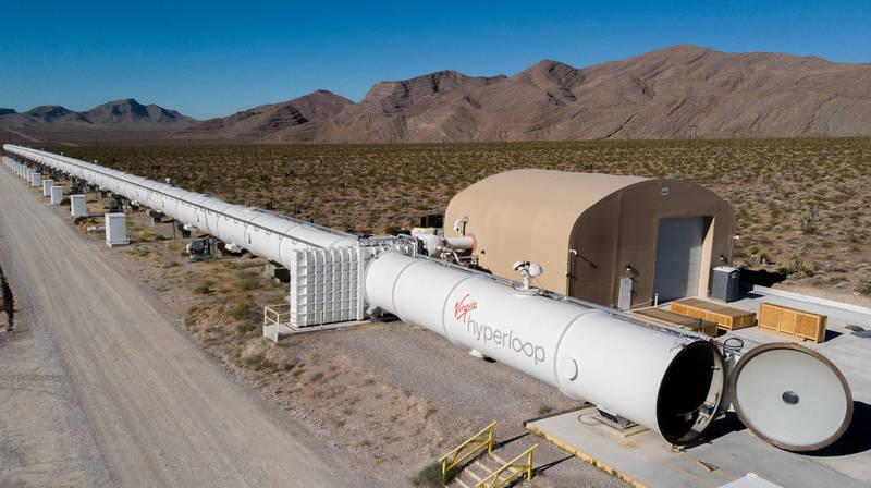 維珍超級高鐵在內華達州的試驗軌道。(Virgin Hyperloop 授權)