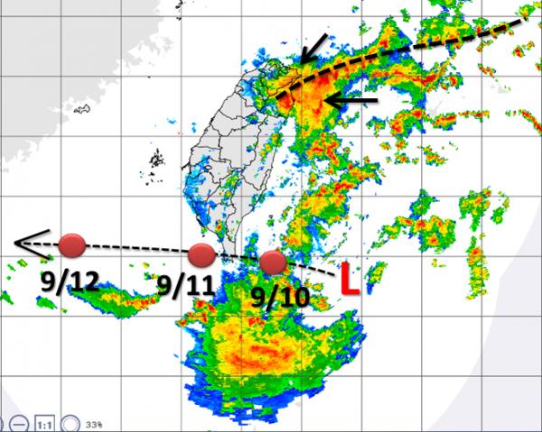 熱帶低壓在台灣東南方海面徘徊,氣象局已發布熱帶低壓特報,未來將西行穿越恆春半島。(圖擷自「天氣職人-吳聖宇」臉書)