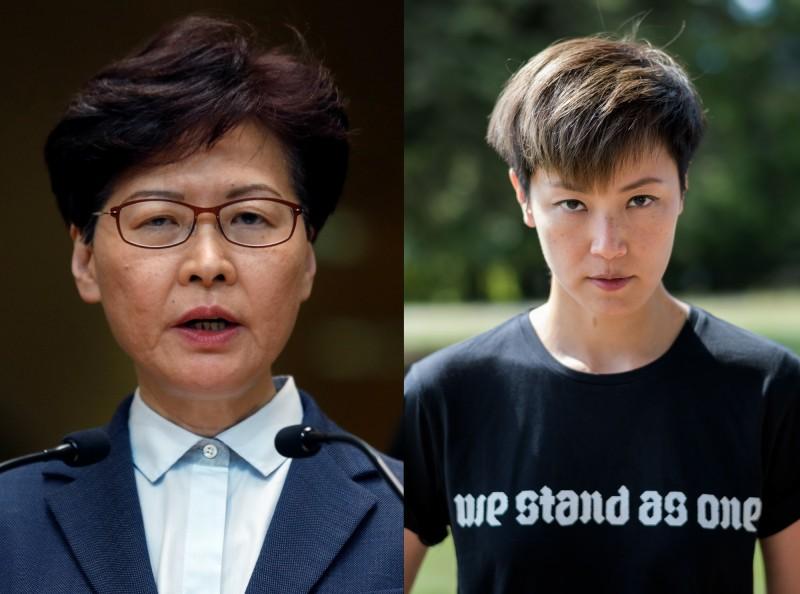 陳芳明感嘆,2女性立場如此截然不同:林鄭月娥(圖左)為自己的權力和中國暴政辯護,何韻詩(圖右)為了2分鐘的反送中演說,搭19小時飛機到日內瓦。(圖左為路透,右為法新社)