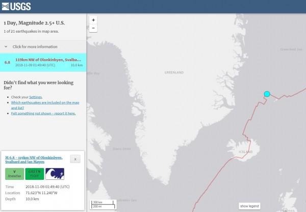 格陵蘭外海剛剛發生芮氏規模6.8極淺層強震。(擷取自USGS)
