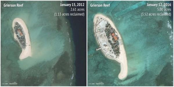 2012-2016染青沙洲(Grierson Reef)。(圖擷自商業內幕)