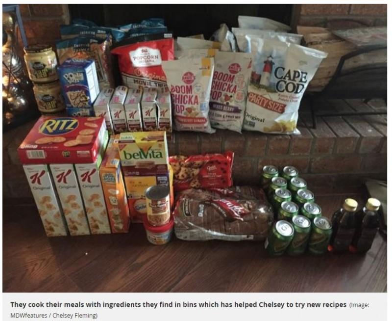 圖為佛萊明和強尼從超市垃圾桶蒐集的食品和日用品。(圖擷取自《Metro》)