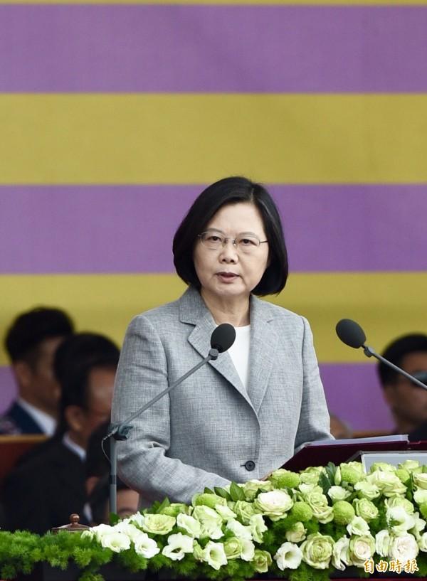 蔡總統國慶演說,正告中國:一個負責任的大國,應該在區域及全球,扮演良性的角色,而不是衝突的來源。(記者羅沛德攝)
