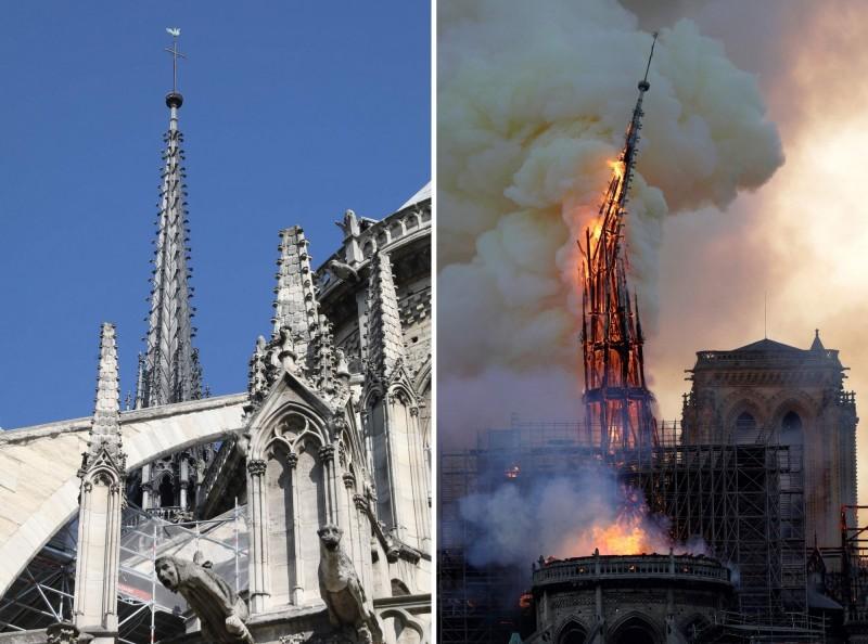 聖母院尖塔在眾目睽睽之下倒塌,塔頂的「神聖風向雞」也消失在火海之中。(法新社)