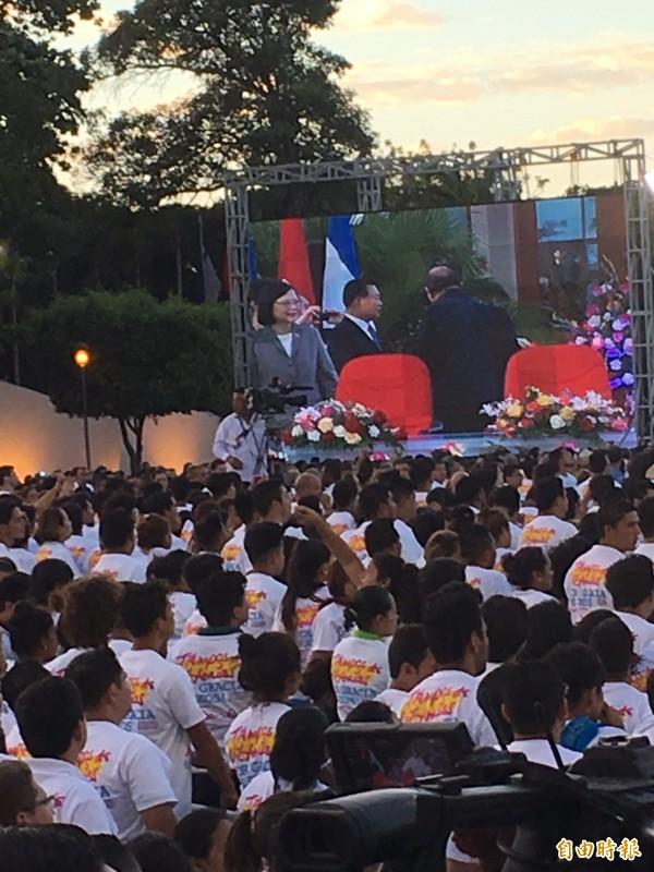 尼加拉瓜總統奧蒂嘉就職典禮,蔡英文總統座位就在奧蒂嘉伉儷旁。(記者蘇永耀攝)