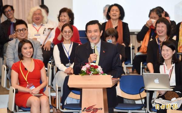 台灣大學次震宇宙館落成啟用,前總統馬英九27日出席啟用典禮。(記者羅沛德攝)