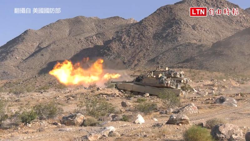 M1A2的120公厘砲發射。(翻攝自美國國防部)