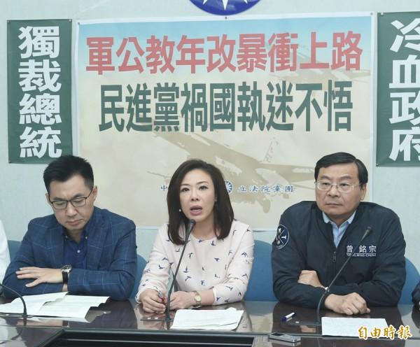 國民黨立法院黨團舉行「軍公教年改暴衝上路」記者會。(記者廖振輝攝)
