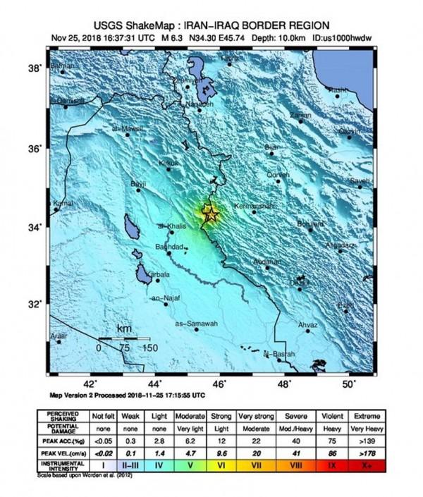 伊朗今天凌晨發生6.3強震。(歐新社)