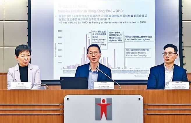 香港爆發麻疹疫情,香港衞生防護中心記者會,預料社區或出現「小型爆發」。(香港《星島日報》)