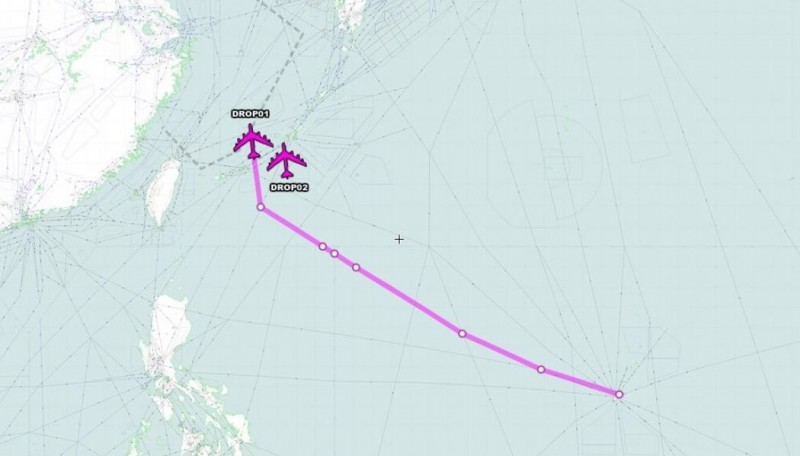 美軍2架B-52H轟炸機從關島安德森空軍基地起飛後的飛行軌跡。(圖擷自「Aircraft Spots」推特)