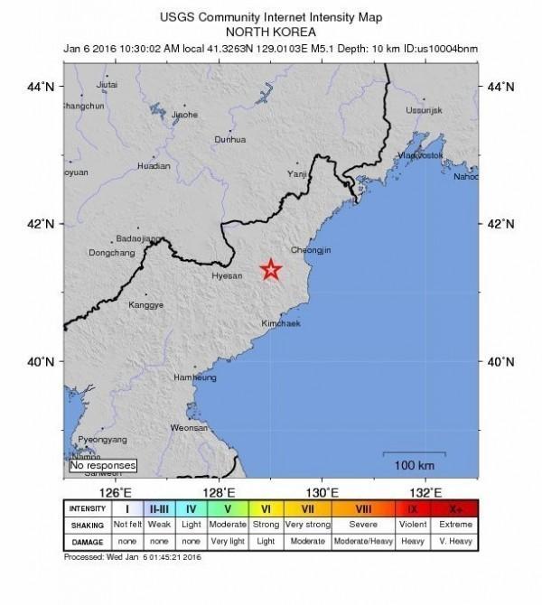 北韓今天上午發生芮氏規模5.1的地震,中媒分析指出,若是北韓核試爆所引起的地震,那核爆威力大約與1945年廣島核爆威力相當。(歐新社)