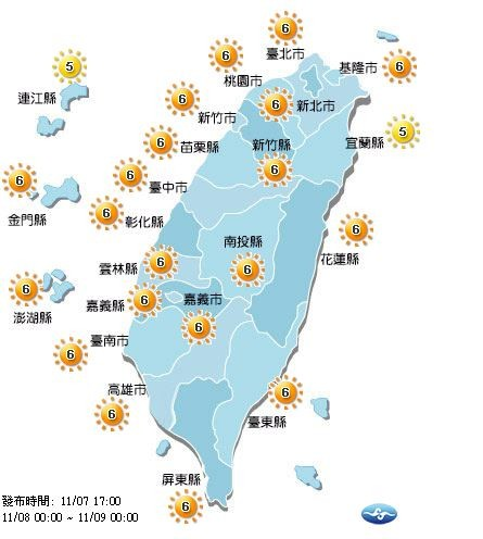 明日宜蘭縣及連江縣達中量級,其他20縣市達高量級,外出30分鐘恐曬傷,提醒民眾外出做好防曬、多補充水分。(圖擷取自中央氣象局)
