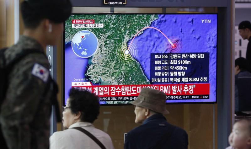 北韓2日一早發射種類不明的飛彈,據南韓聯合參謀本部表示,北韓發射的飛行器疑似是「北極星」系列的潛射彈道飛彈(SLBM)。(歐新社)