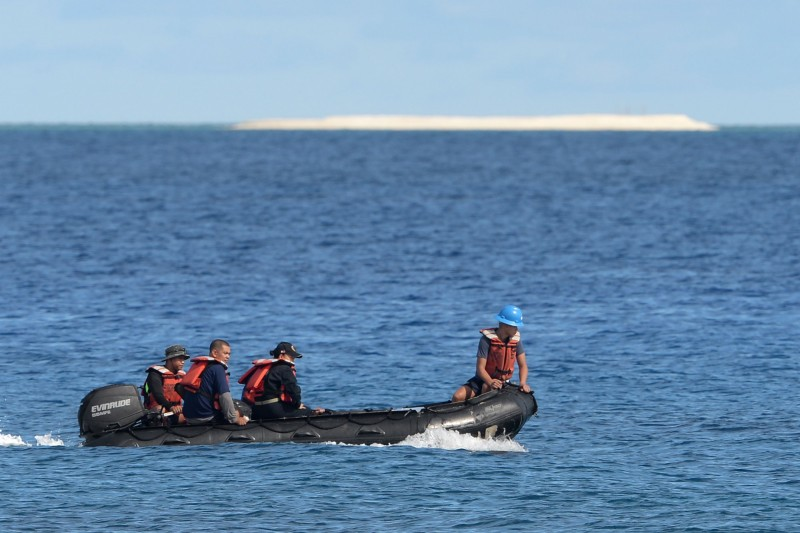 菲律賓當局在南海派格阿薩島周圍發現275艘的中國船隻,因此1日下午向中國提出強烈抗議。圖為南海的派格阿薩島附近海域。(法新社資料照)