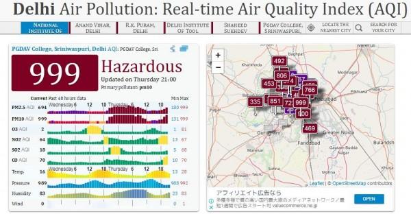 截至排燈節隔天晚上(台灣時間8日23時),仍有部分地區PM2.5指數維持999。(圖擷取自印度空氣品質即時監測網)