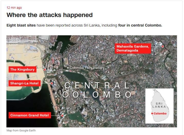 《CNN》整理出斯里蘭卡首都爆炸事件的所在位置。(圖擷取自CNN)
