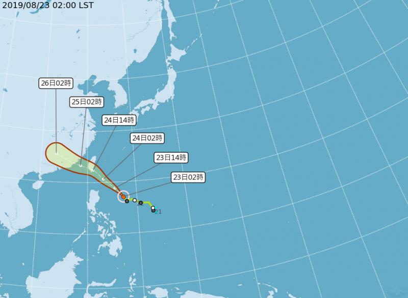 颱風路徑潛勢圖。(圖擷取自中央氣象局)
