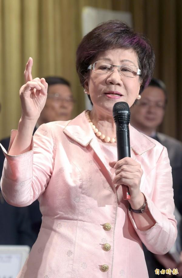 前副總統呂秀蓮認為,蔡英文若找黨外人士搭檔選總統,對不起民進黨(資料照,記者王敏為攝)