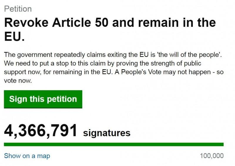要求英國首相梅伊退回條約並停止脫歐的線上連署破4百萬。(擷取自網路)