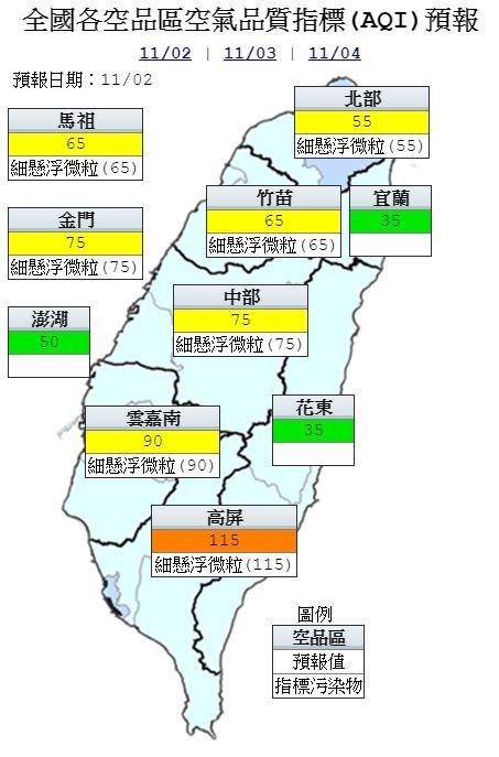 空氣品質方面,環保署預測,由於東北風偏強,位下風處的高屏地區為「橘色提醒」,宜蘭、花東及澎湖為「良好」,其餘地區為「普通」等級。(圖擷取自環保署)