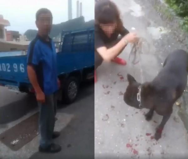 有民眾今(15)日上午在基隆市外木山,看見男性飼主開著藍色貨車,沿途拖行寵物黑色土狗。(圖擷取自臉書社團「基隆人」)