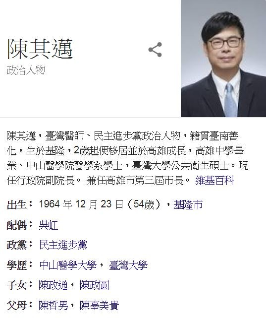 陳其邁的維基百科職銜被修訂為「行政院副院長。兼任第三任高雄市長」。(圖擷取自維基百科)