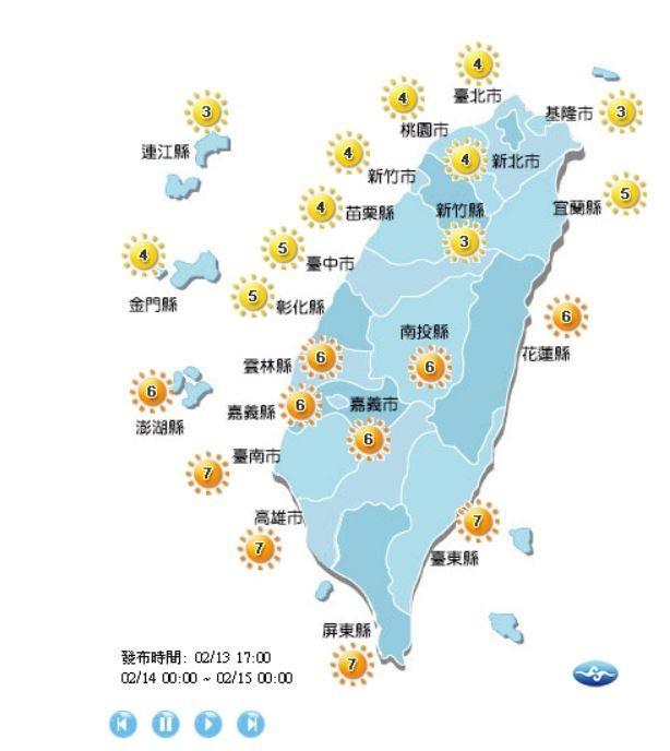 彰化以北、連江、金門紫外線為中量級,花東、南投、澎湖、雲林以南為高量級。(圖擷取自中央氣象局)