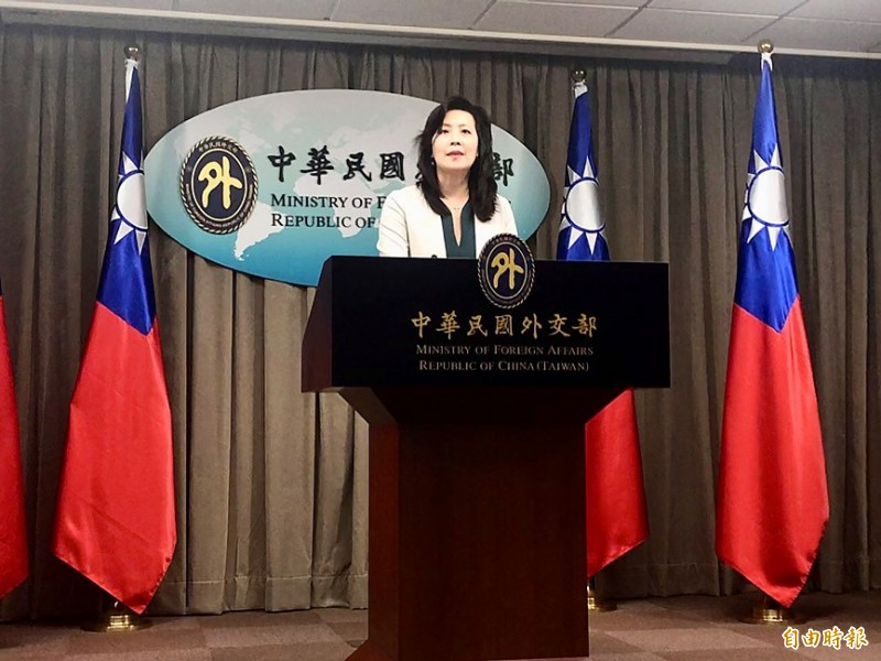 Ministry of Foreign Affairs spokeswoman Joanne Ou hosts a regular news conference in Taipei on July 7.  Photo: Lu Yi-hsuan, Taipei Times